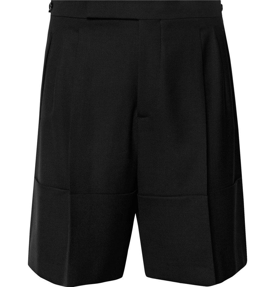 Raf Simons - Wide-Leg Pleated Stretch-Virgin Wool Shorts - Black