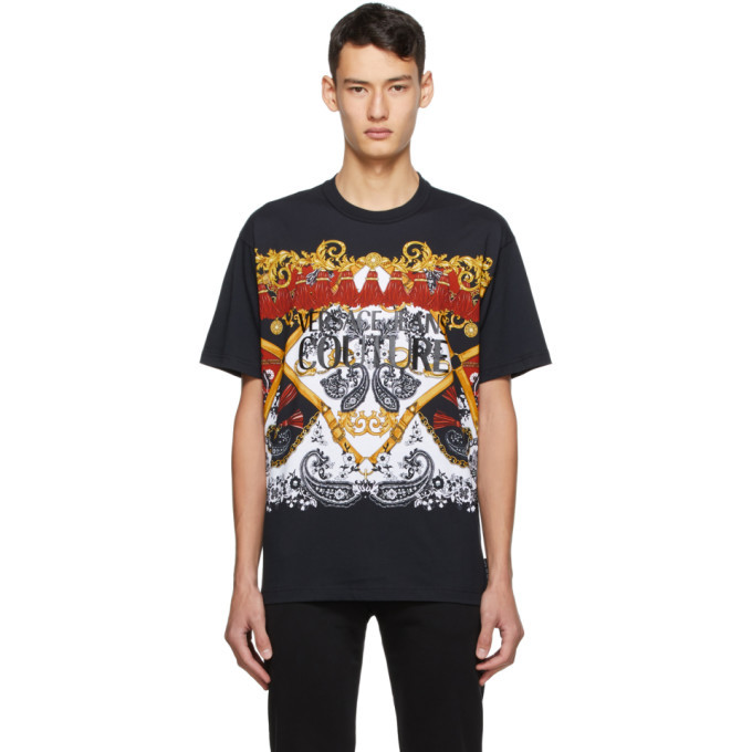 Photo: Versace Jeans Couture Black Paisley Fantasy Logo T-Shirt