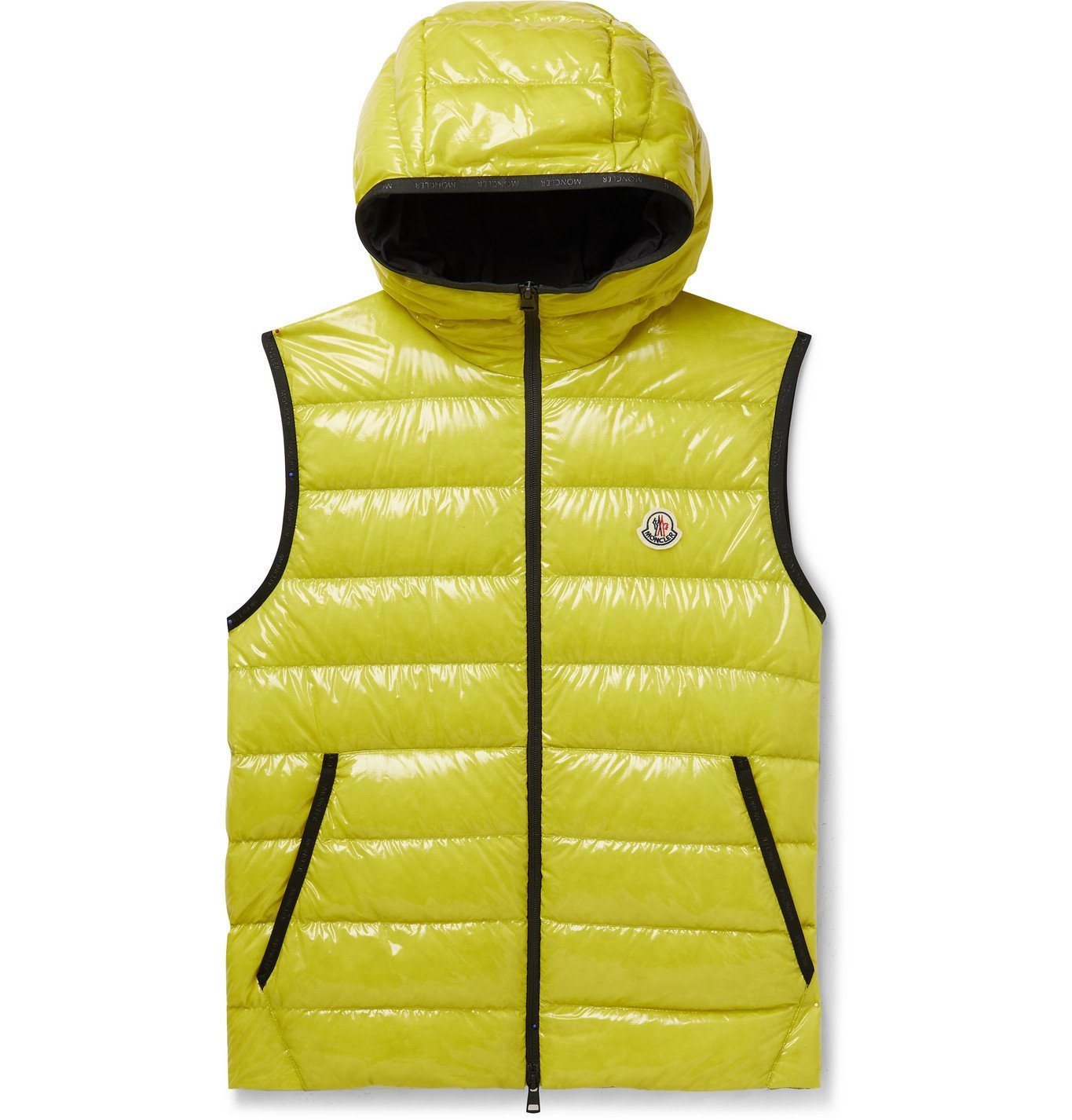 Photo: MONCLER - Lappe Logo-Appliquéd Quilted Glossed-Ripstop Hooded Down Gilet - Yellow