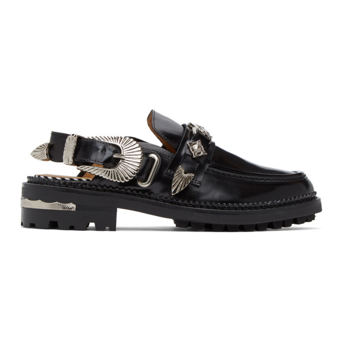 Photo: Toga Pulla Black Leather Mule Loafers
