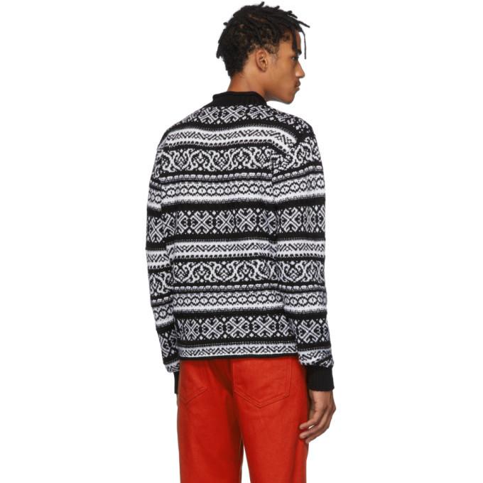 Versace Black and White Jacquard Sweater