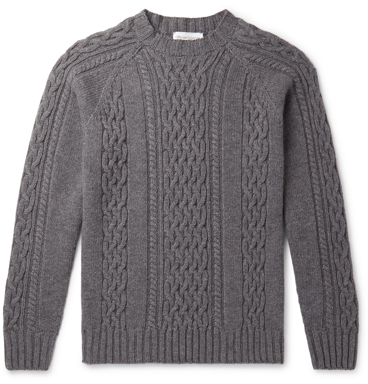 Officine Generale - Cable-Knit Mélange Wool Sweater - Gray