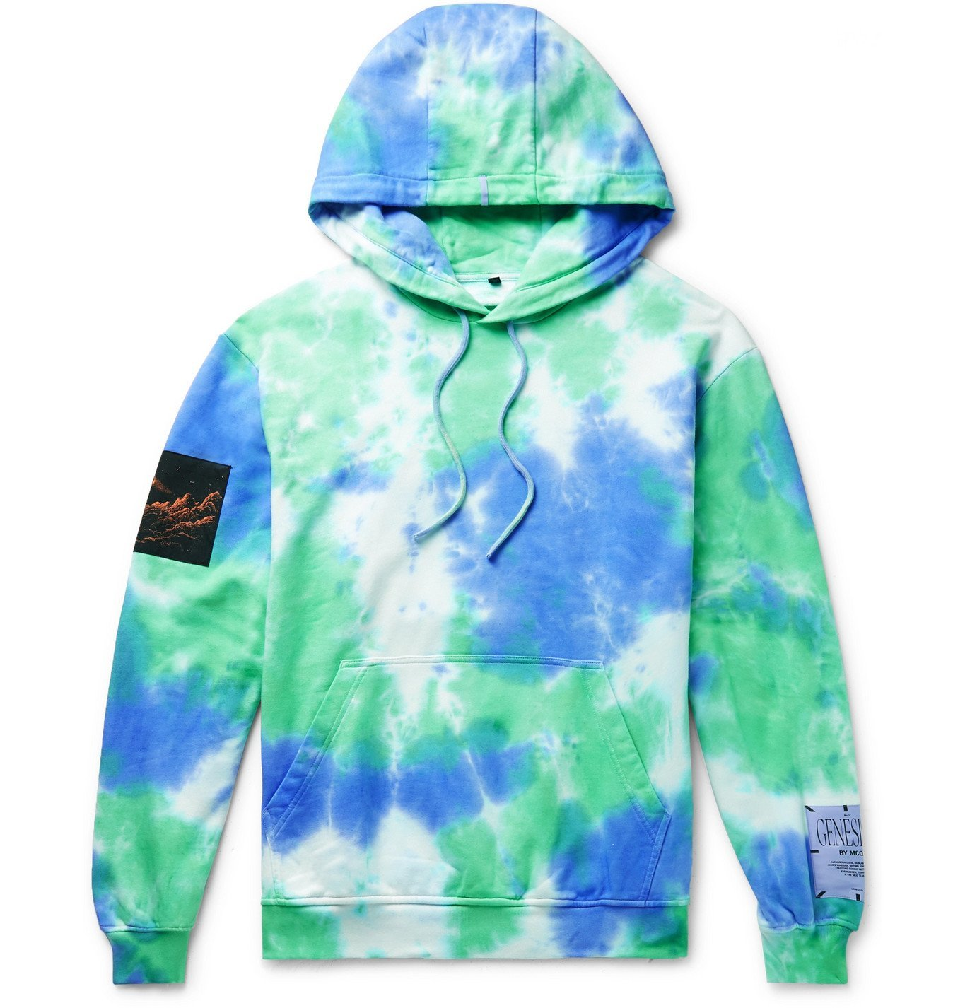 Photo: MCQ - Unity Appliquéd Tie-Dyed Loopback Cotton-Jersey Hoodie - Blue