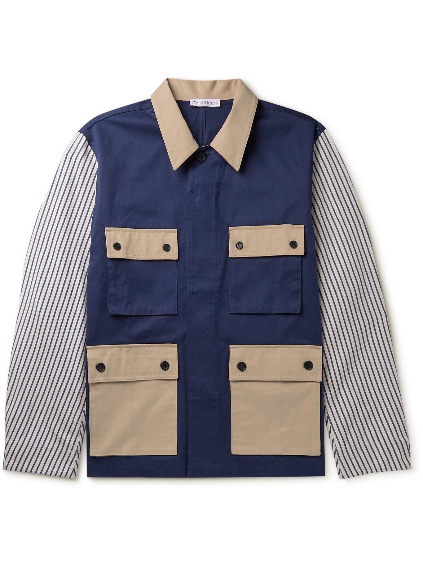 Photo: JW Anderson - Patchwork Striped Cotton Shirt Jacket - Blue