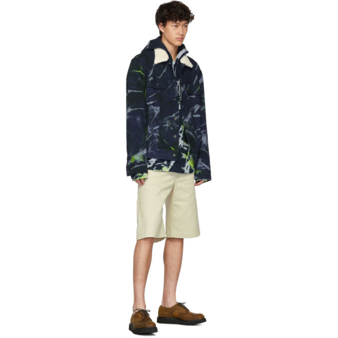 The Elder Statesman Navy Denim Sherpa Swirl Dye Jacket