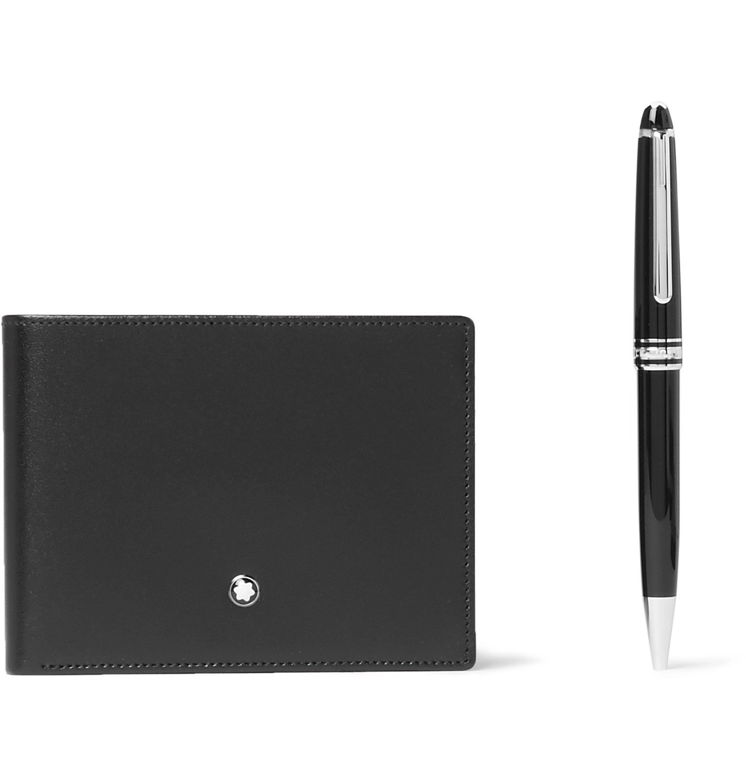 Photo: Montblanc - Meisterstück Leather Billfold Wallet and Classique Resin and Platinum-Plated Ballpoint Pen Set - Black