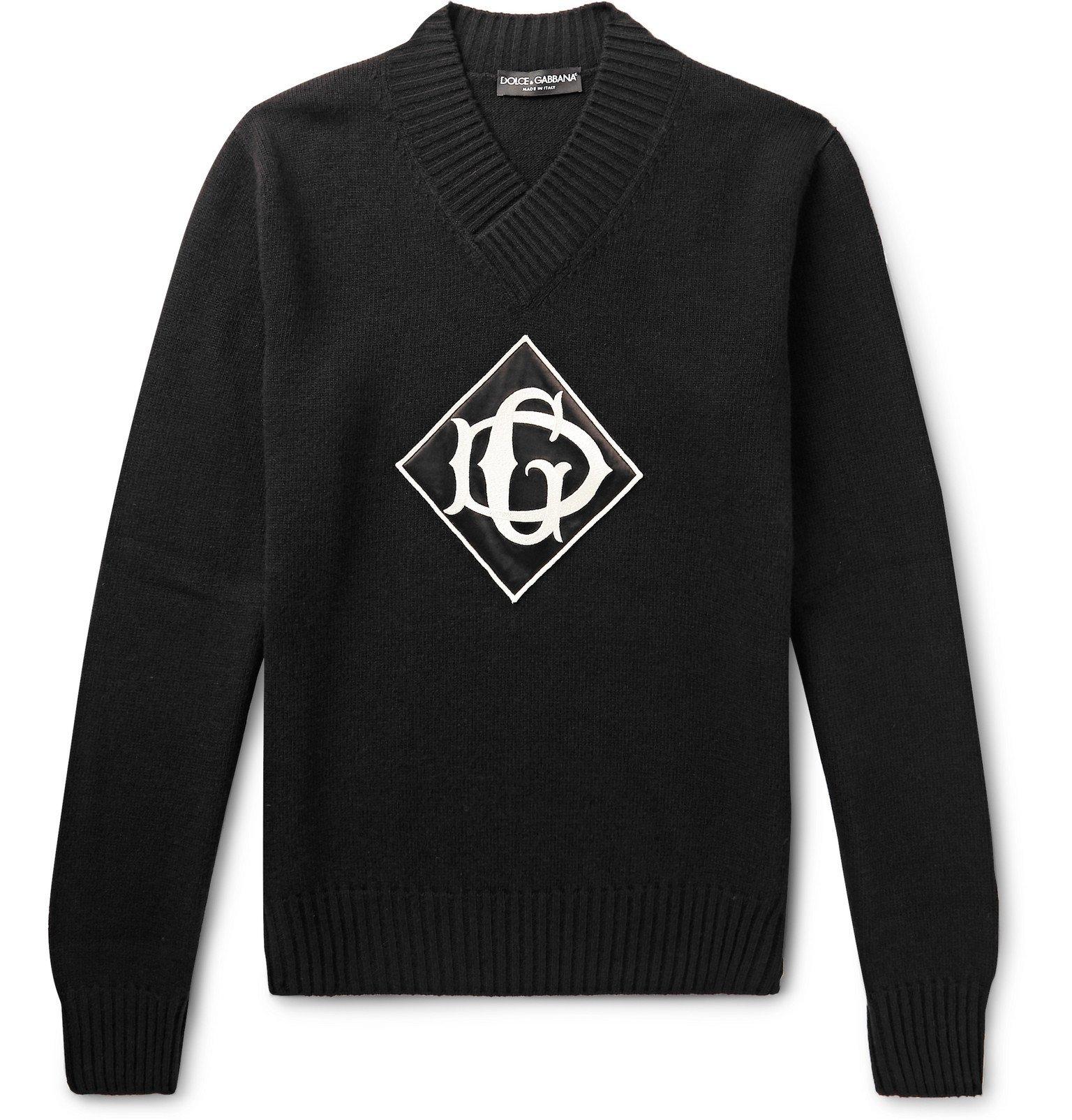 Photo: Dolce & Gabbana - Logo-Appliquéd Virgin Wool Sweater - Black