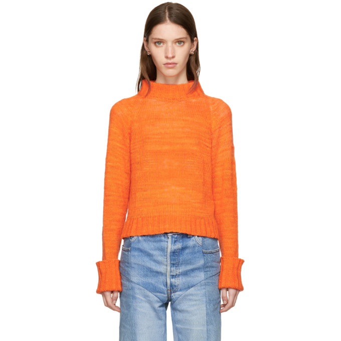 Photo: The Elder Statesman Orange Cashmere Cropped Mock Neck Sweater
