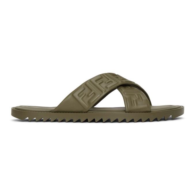 Photo: Fendi Khaki Leather Forever Fendi Slides