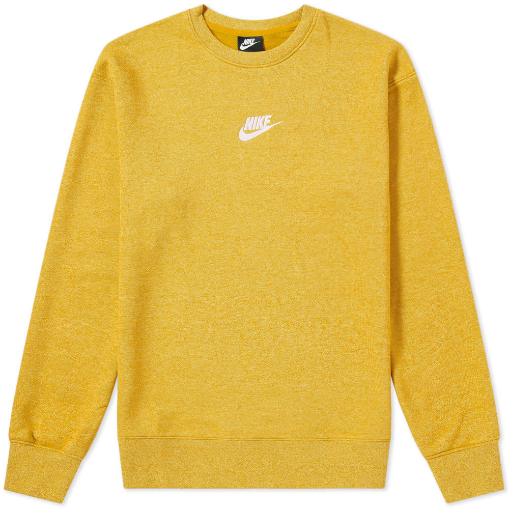 Photo: Nike Heritage Crew Sweat Yellow Ochre, Heather & Sail