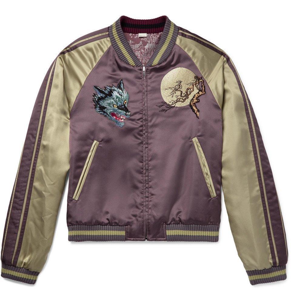 c5bf5fbf417 Gucci - Reversible Appliquéd Satin-Jacquard Bomber Jacket - Men - Lavender