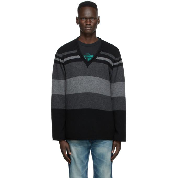 Photo: Undercover Black Stripe V-Neck Sweater