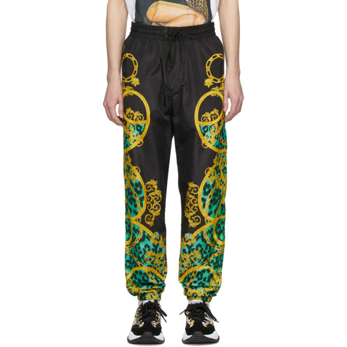 Photo: Versace Jeans Couture Black and Green Leo Chain Track Pants