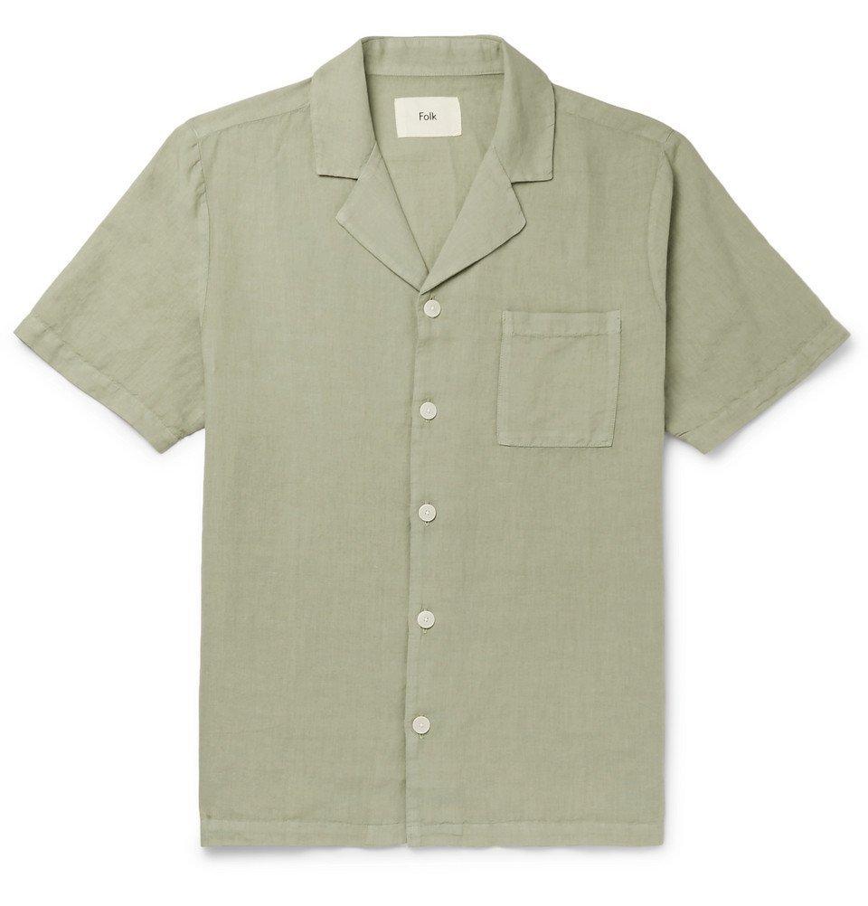 Photo: Folk - Camp-Collar Linen and Cotton-Blend Shirt - Green