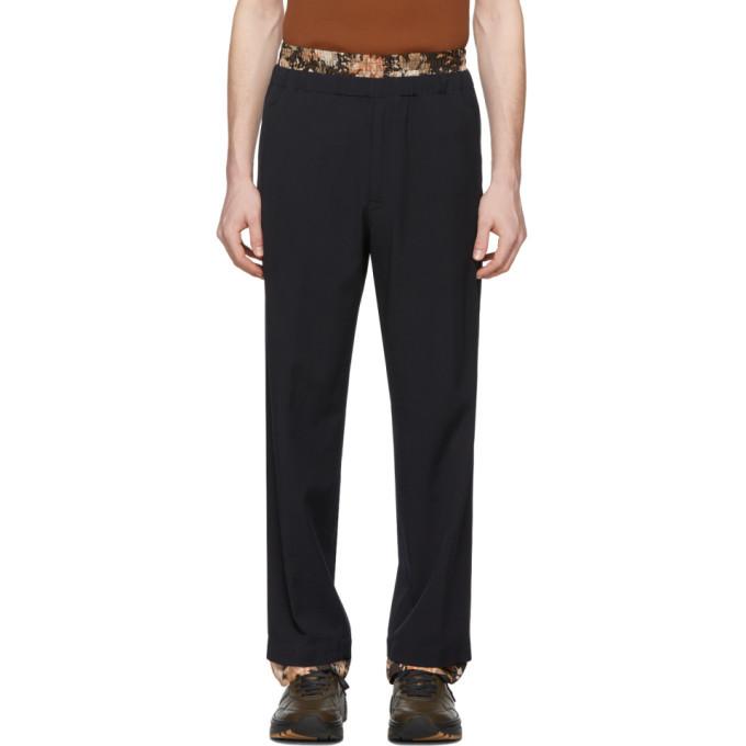 Photo: Dries Van Noten Navy Wool Double Waistband Trousers