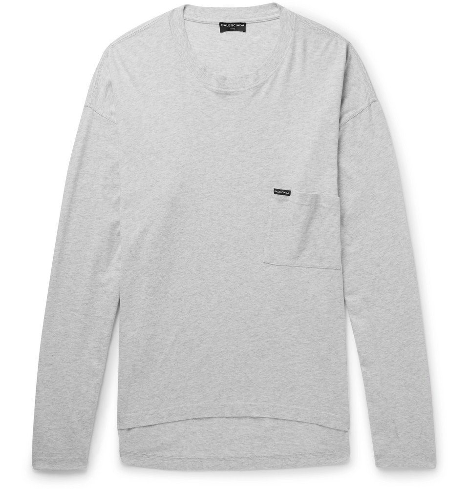 Photo: Balenciaga - Oversized Mélange Cotton-Jersey T-Shirt - Gray