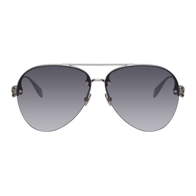 Photo: Alexander McQueen Silver Skull Aviator Sunglasses