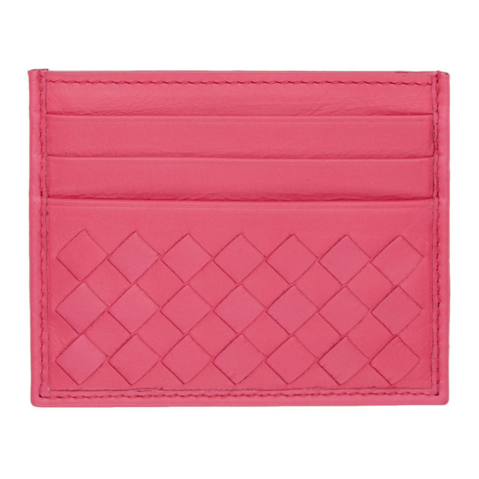 Photo: Bottega Veneta Pink Intrecciato Card Holder