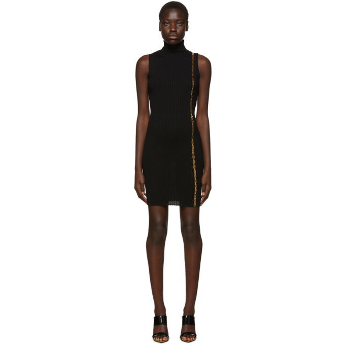 Versace Black Rib Knit Empire Dress