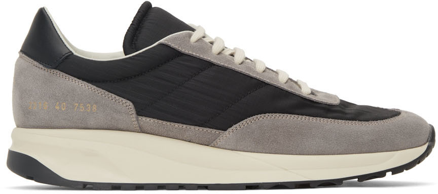 Photo: Common Projects Grey & Black Track Classic Sneakers