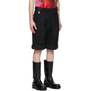 Raf Simons Black Wool Rolled Up Wide-Fit Shorts