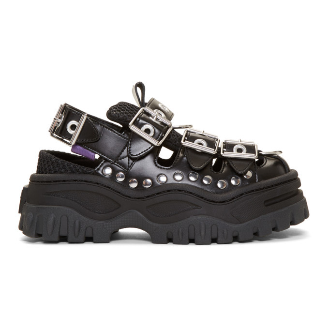 Eytys Black Leather Athena Sandals Eytys