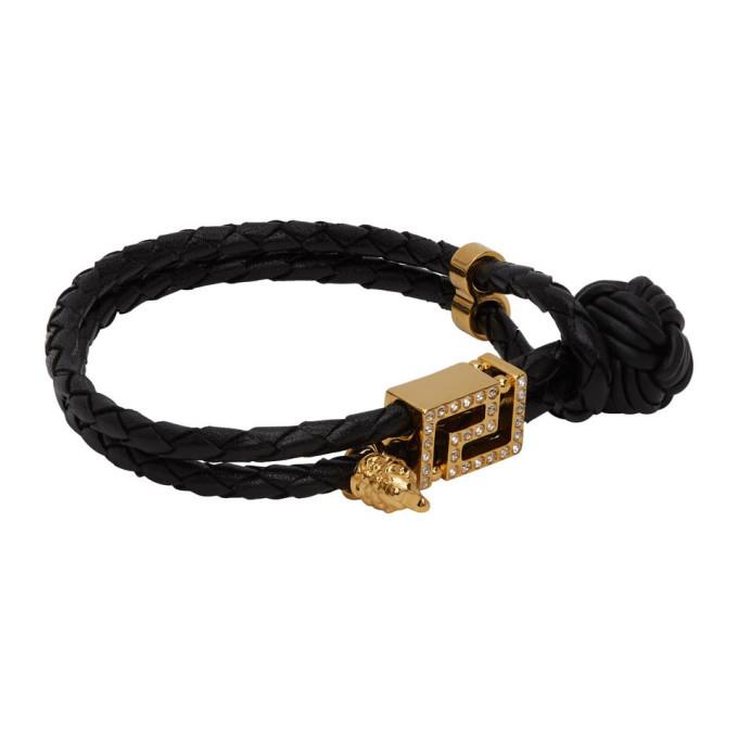 Versace Black and Gold Leather Greca Bracelet
