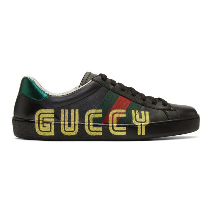 Gucci Black New Ace Guccy Sneaker Gucci