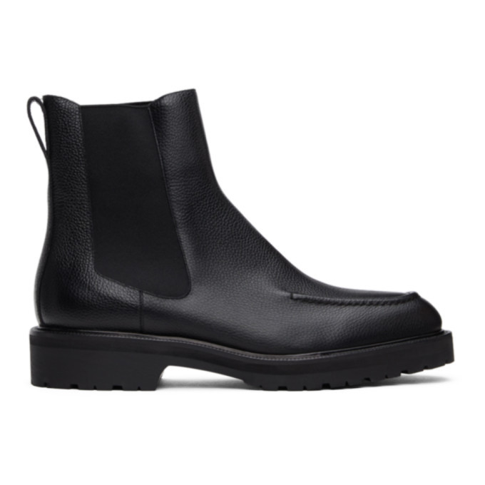Photo: Dries Van Noten Black Pebble Grain Chelsea Boots