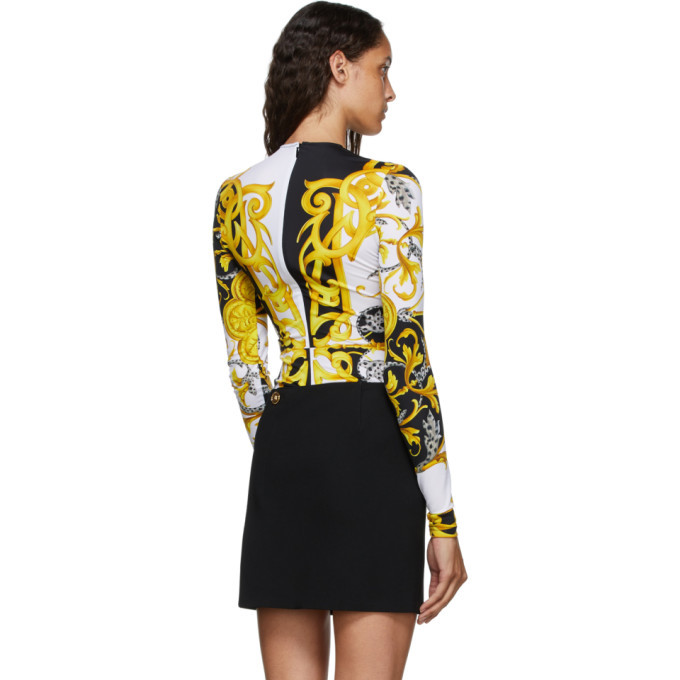 Versace Brown and Yellow Barocco Bodysuit