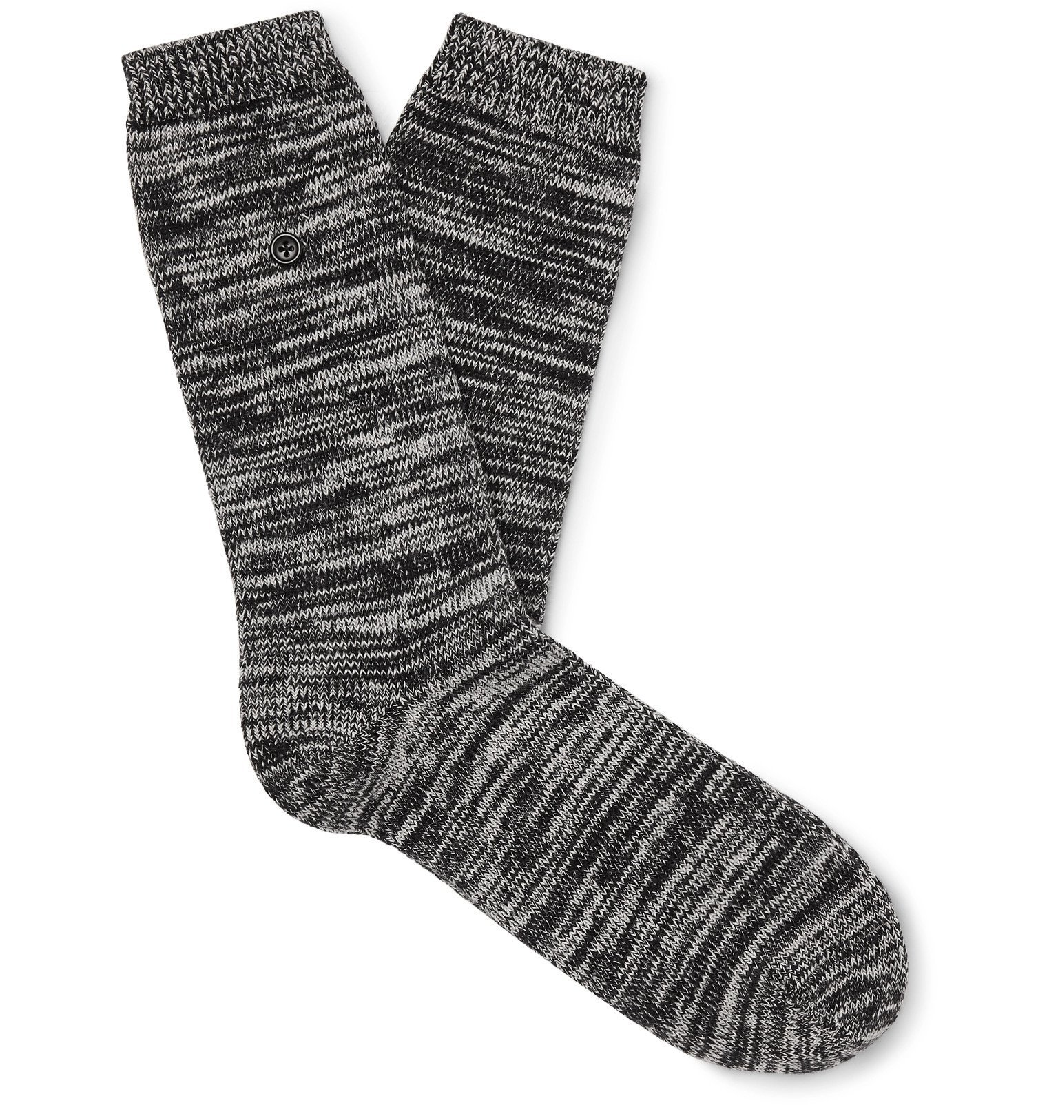 Photo: Folk - Mélange Stretch Cotton-Blend Socks - Black