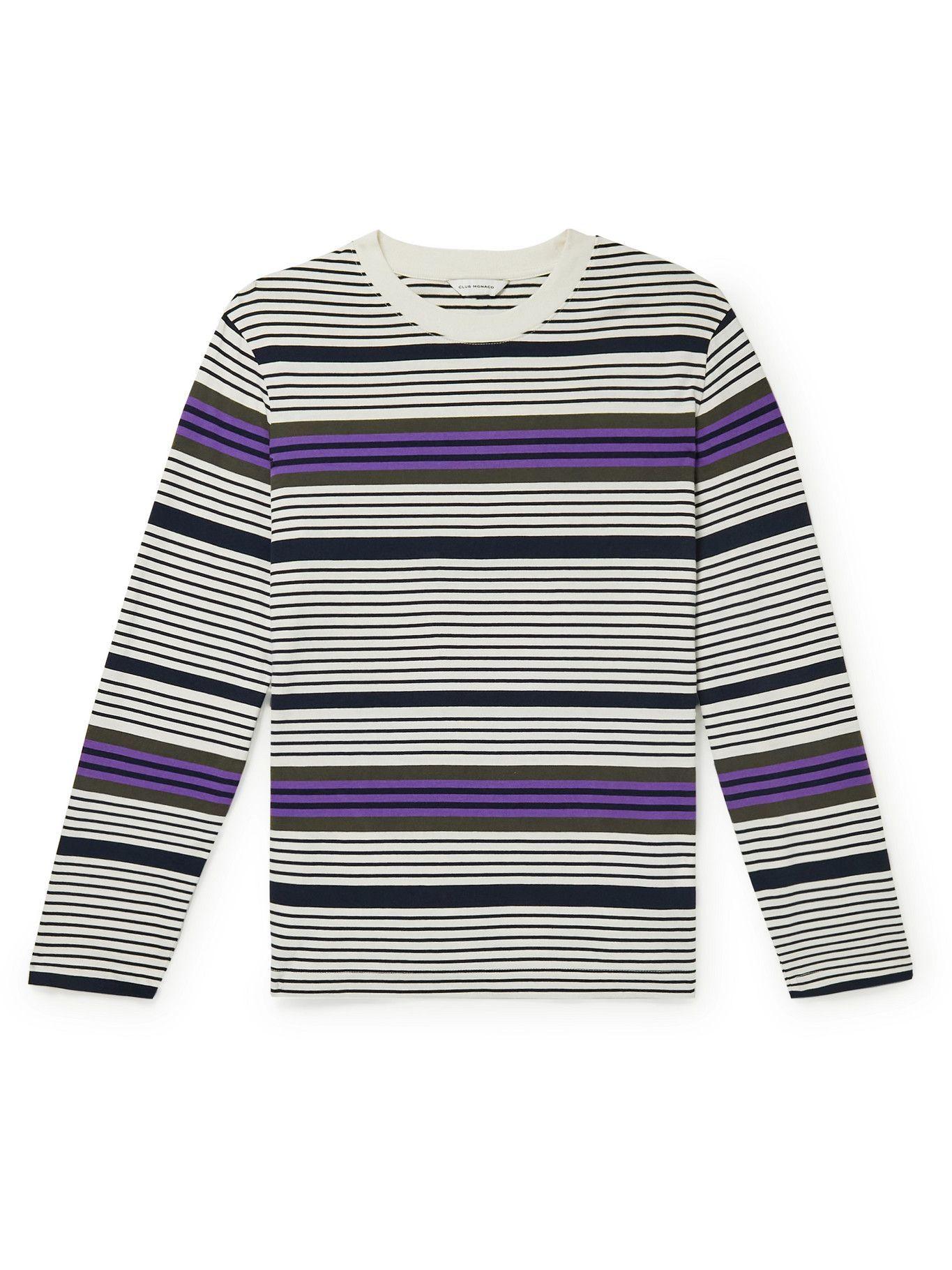 Photo: Club Monaco - Striped Supima Cotton-Jersey T-Shirt - White