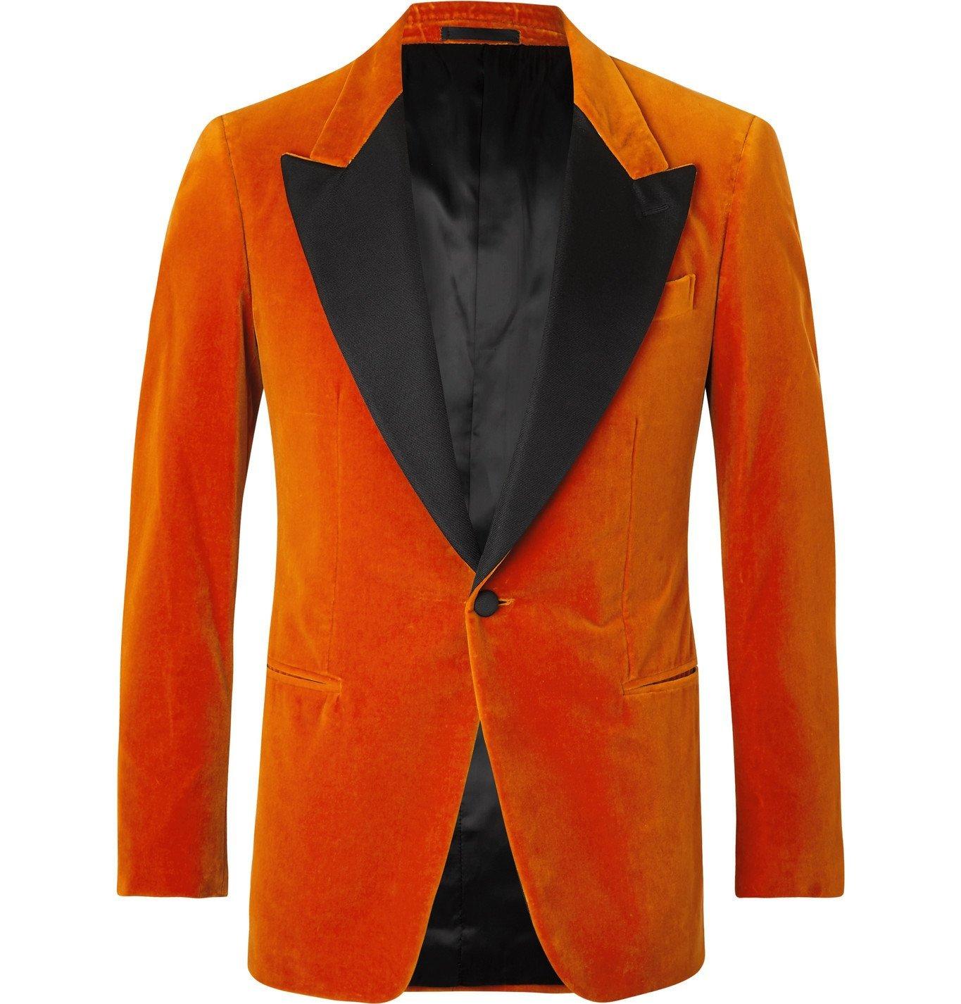 Photo: Kingsman - Slim-Fit Satin-Trimmed Cotton-Velvet Tuxedo Jacket - Orange
