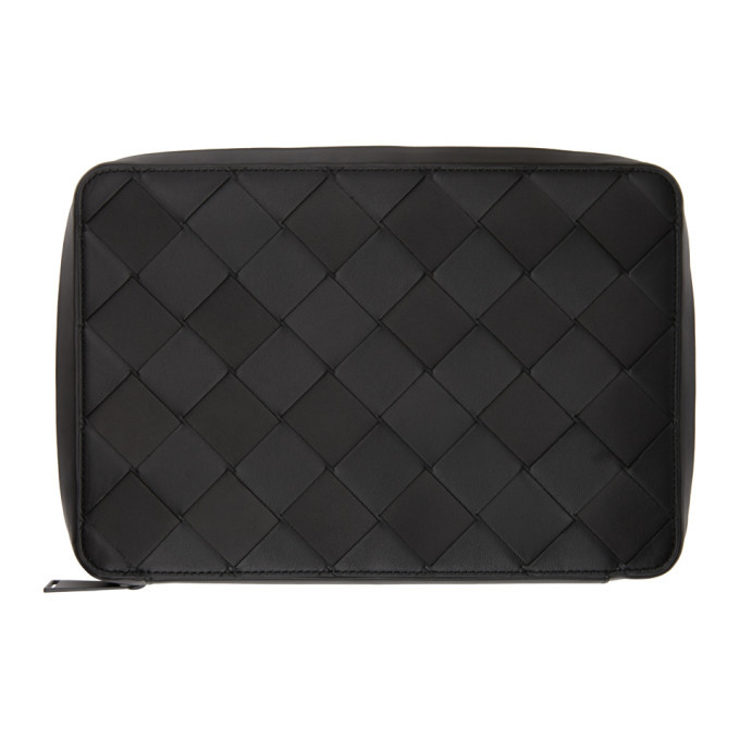 Photo: Bottega Veneta Black Intrecciato Document Pouch