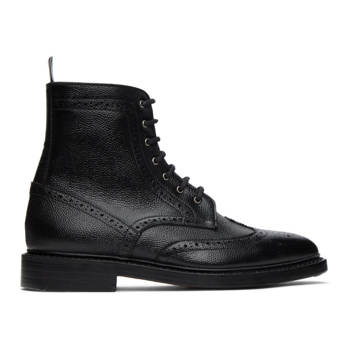 Photo: Thom Browne Black Pebble Leather Wingtip Boots