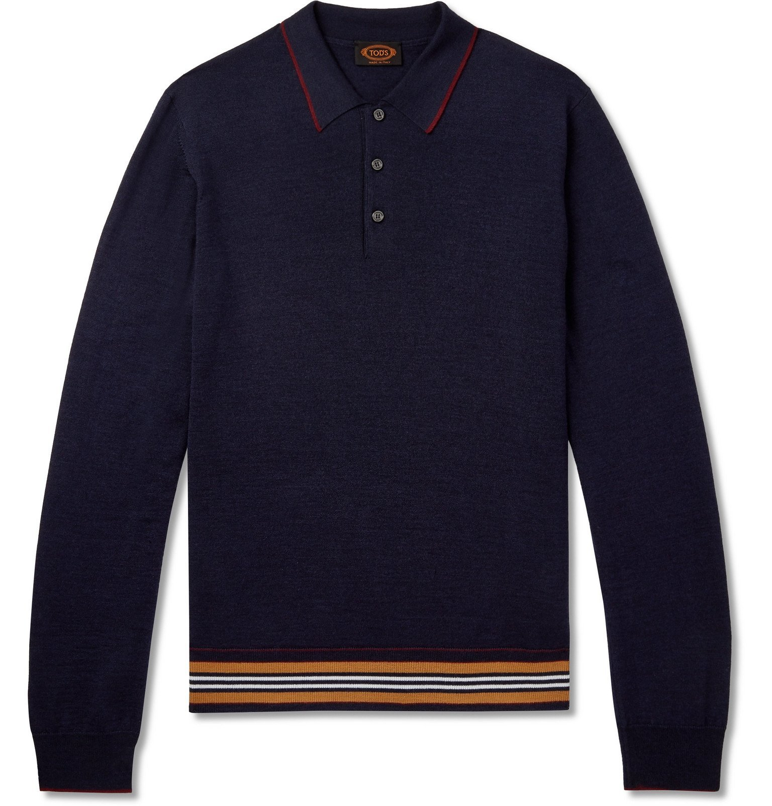 Photo: Tod's - Slim-Fit Striped Merino Wool and Silk-Blend Polo Shirt - Blue