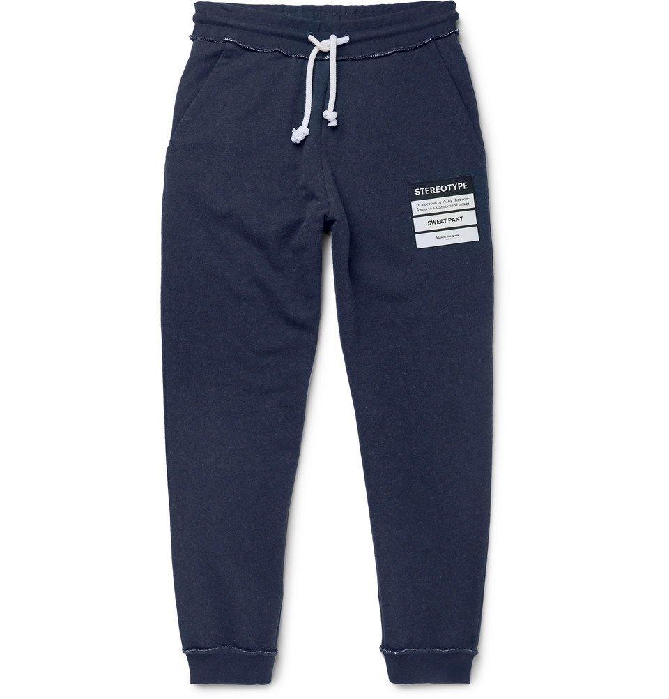 Photo: Maison Margiela - Slim-Fit Tapered Appliquéd Loopback Cotton-Jersey Sweatpants - Blue