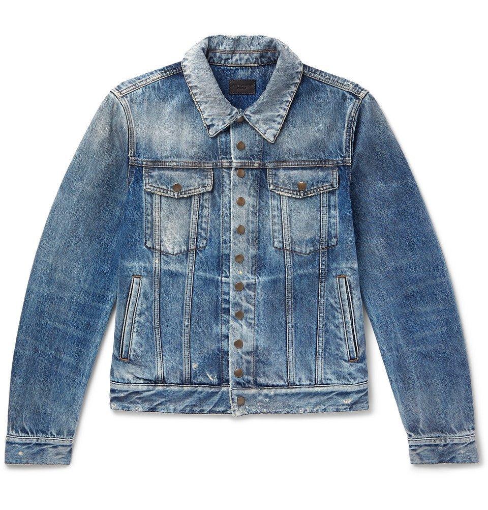 Photo: SAINT LAURENT - Slim-Fit Distressed Denim Jacket - Blue