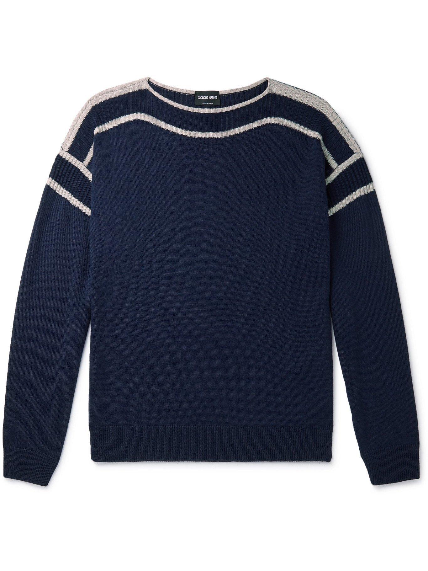 GIORGIO ARMANI - Striped Virgin Wool and Silk-Blend Sweater - Blue