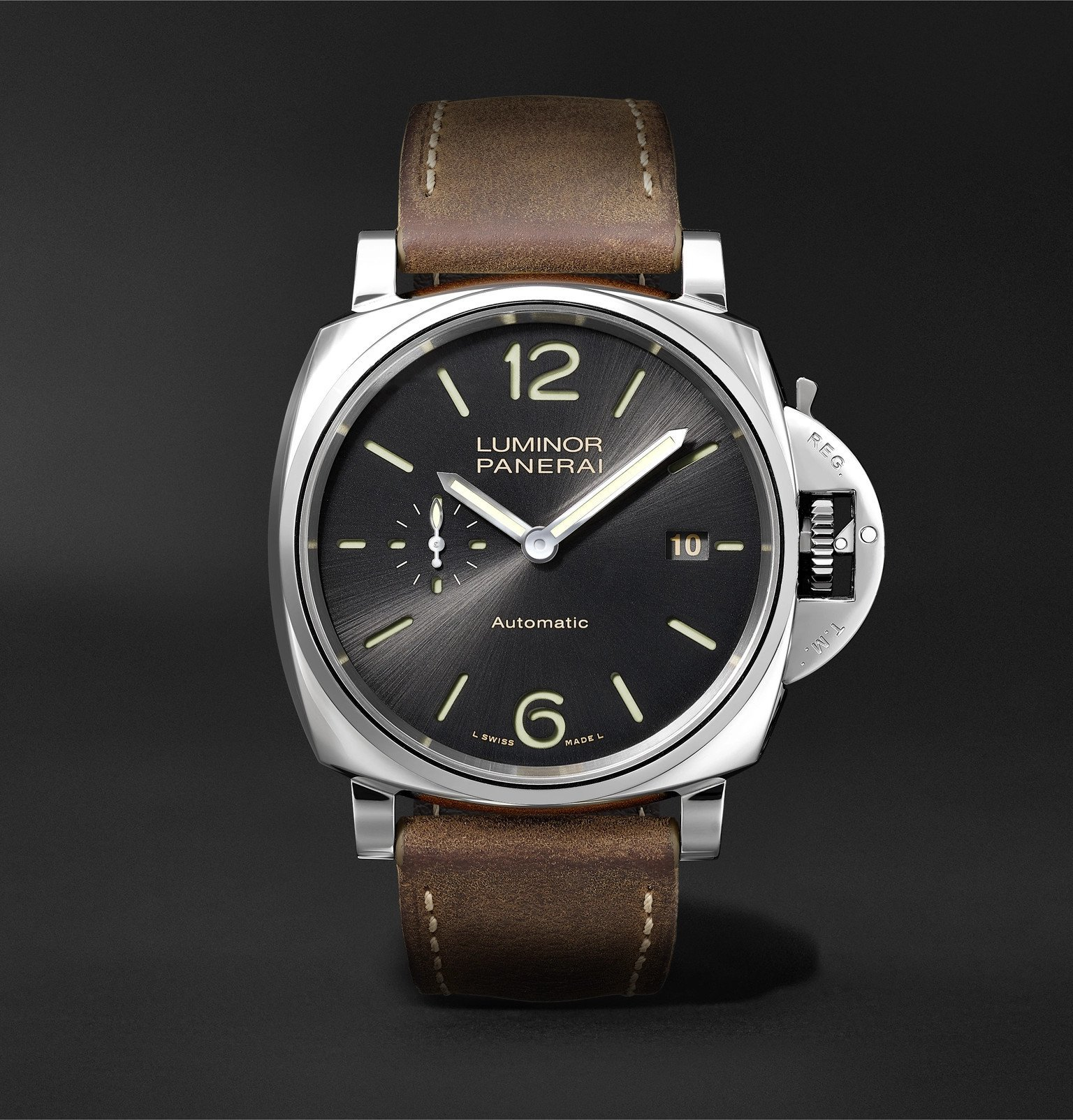 Photo: Panerai - Luminar Due Automatic 42mm Stainless Steel and Leather Watch - Black