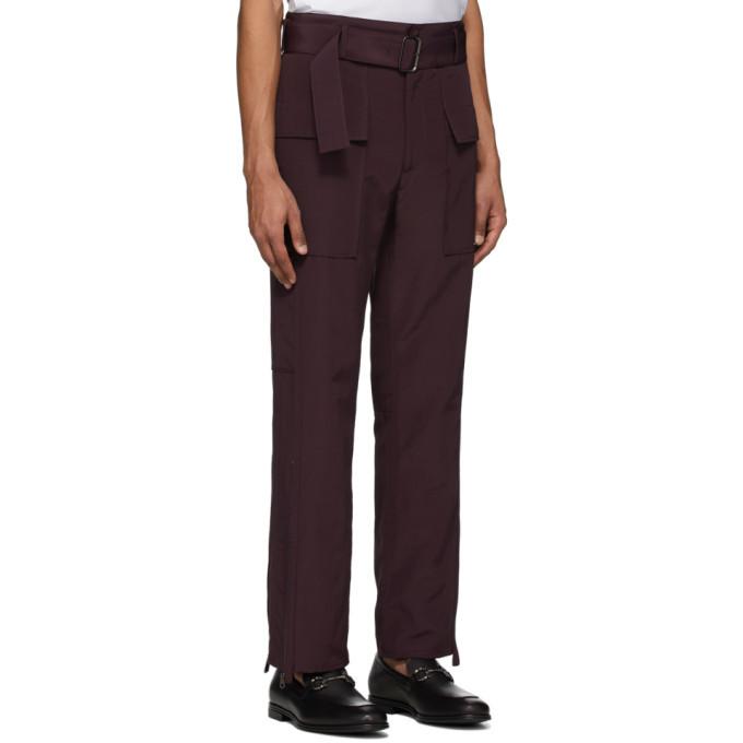 Salvatore Ferragamo Burgundy Cargo Trousers