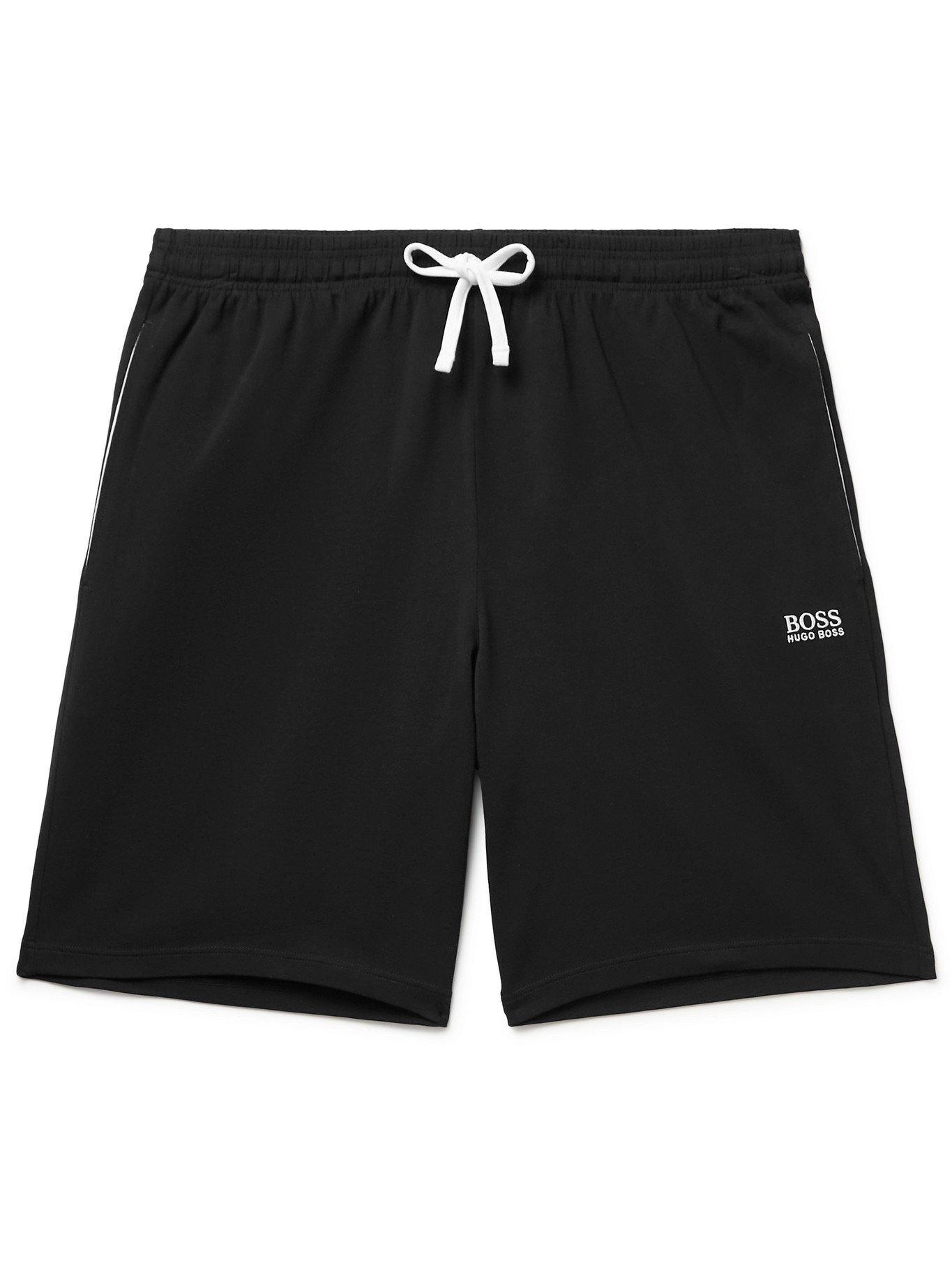 HUGO BOSS - Logo-Print Stretch-Cotton Jersey Pyjama Shorts - Black - S