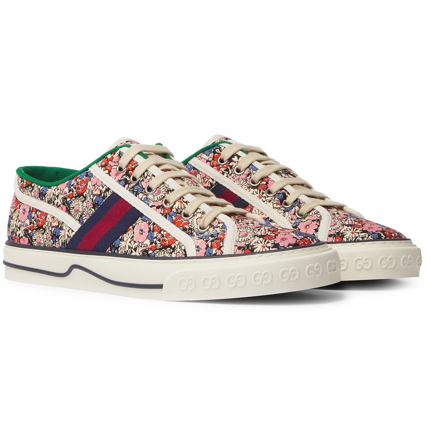 Photo: Gucci - Liberty Tennis 1977 Leather and Webbing-Trimmed Printed Canvas Sneakers - Pink
