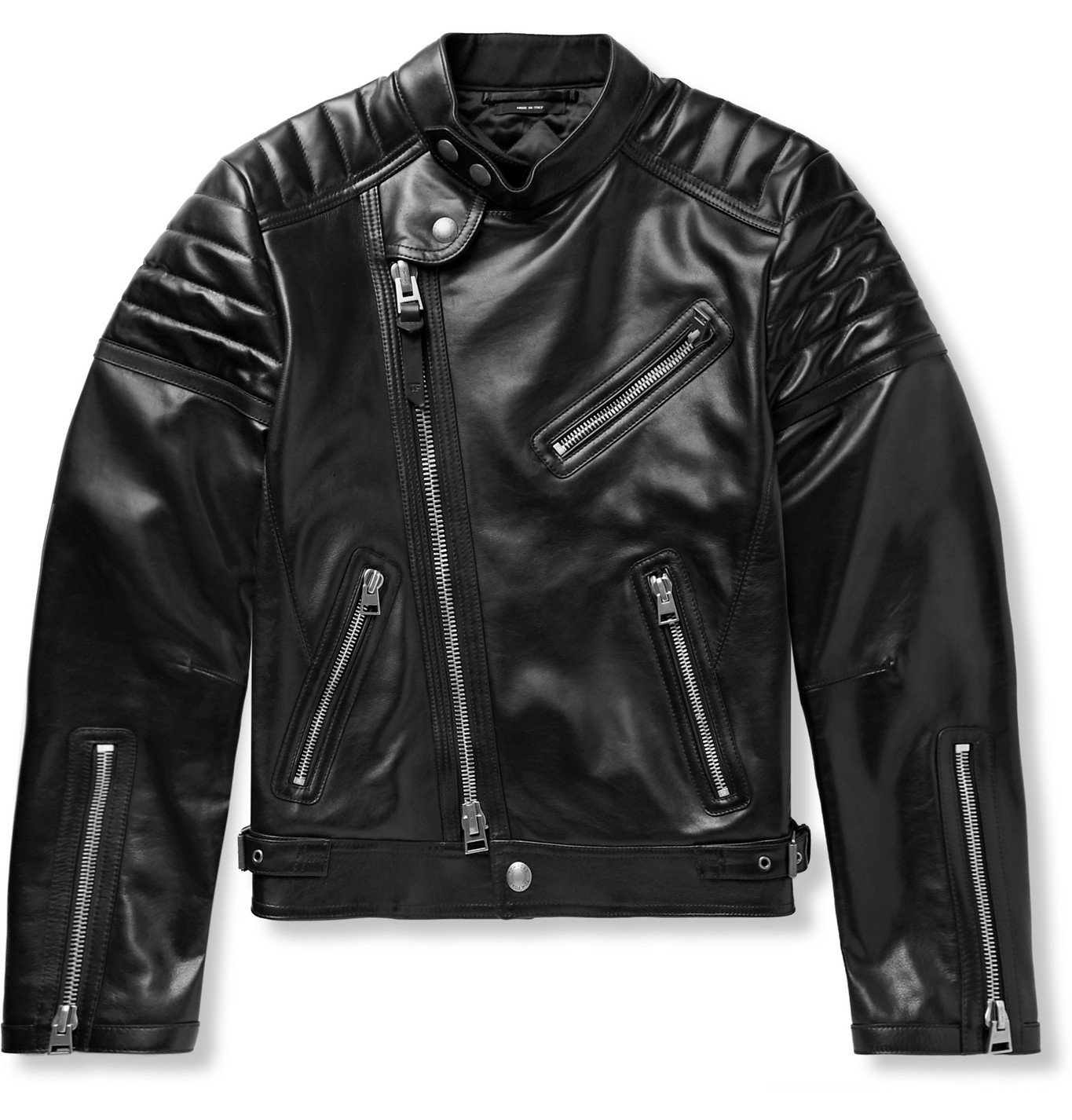 Photo: TOM FORD - Icon Slim-Fit Leather Biker Jacket - Black