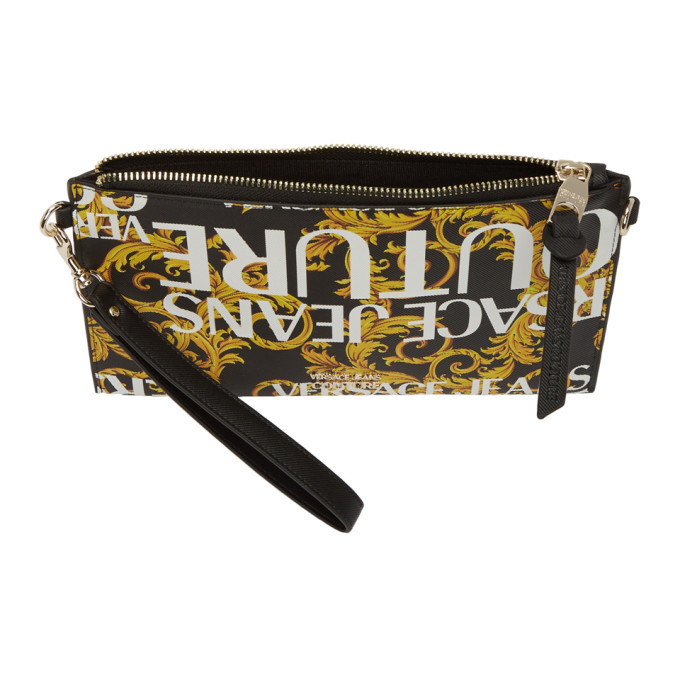 Versace Jeans Couture Black and Gold Barocco Pouch