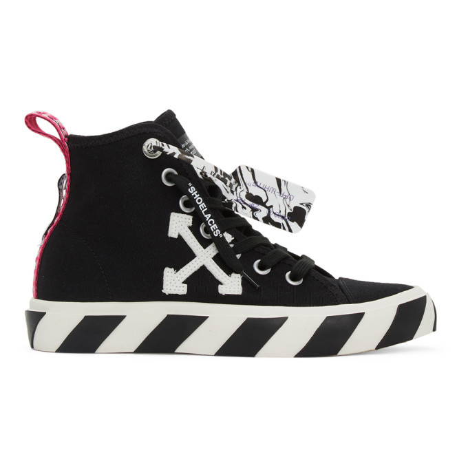 Photo: Off-White Black and White Vulcanized Mid-Top Sneakers
