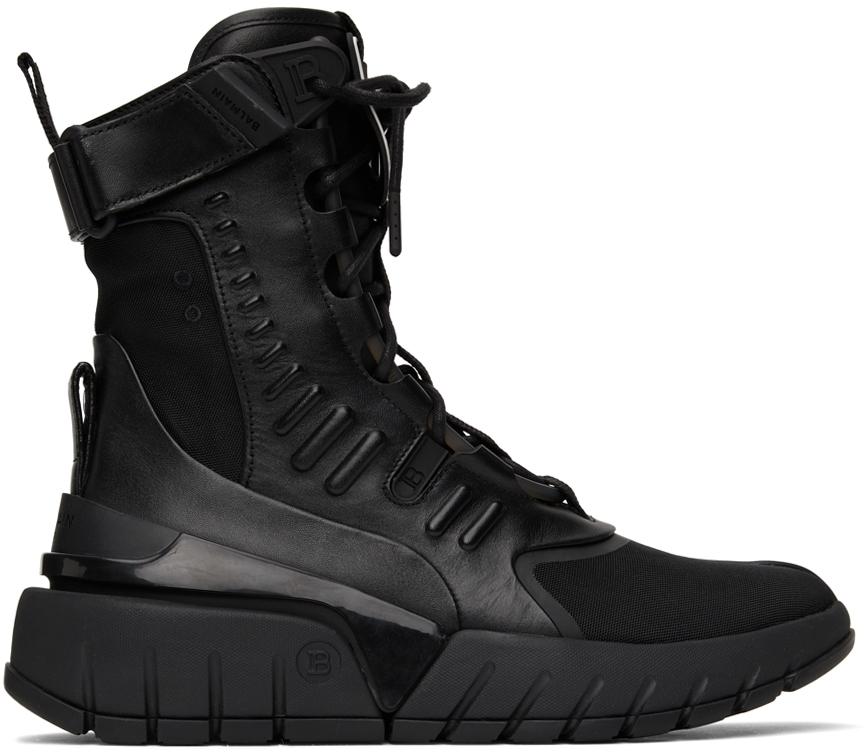 Photo: Balmain Black B-Army High-Top Sneakers