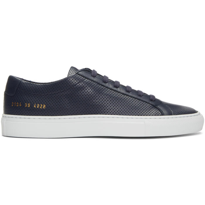Common Projects Navy and White Achilles Low Perforated Sneakers
