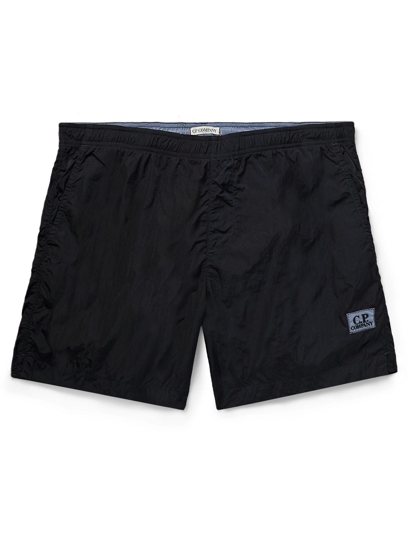 Photo: C.P. COMPANY - Mid-Length Logo-Appliquéd Garment-Dyed Swim Shorts - Black