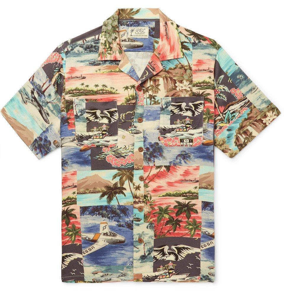 RRL - Slim-Fit Camp-Collar Printed Woven Shirt - Blue